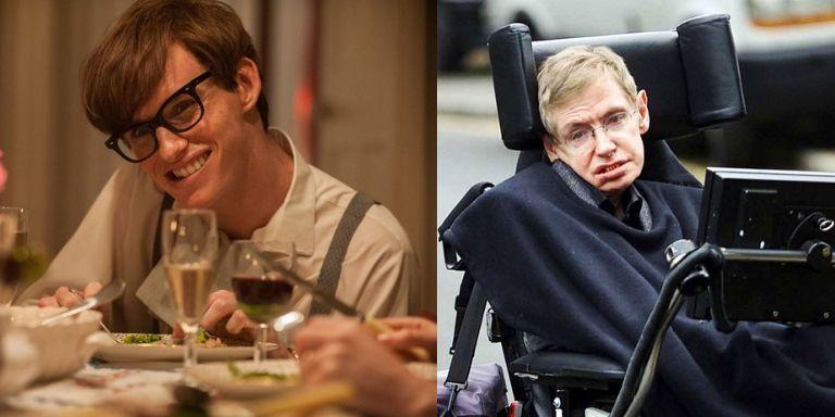 (Left to right) Eddie Redmayne, and Stephen Hawking