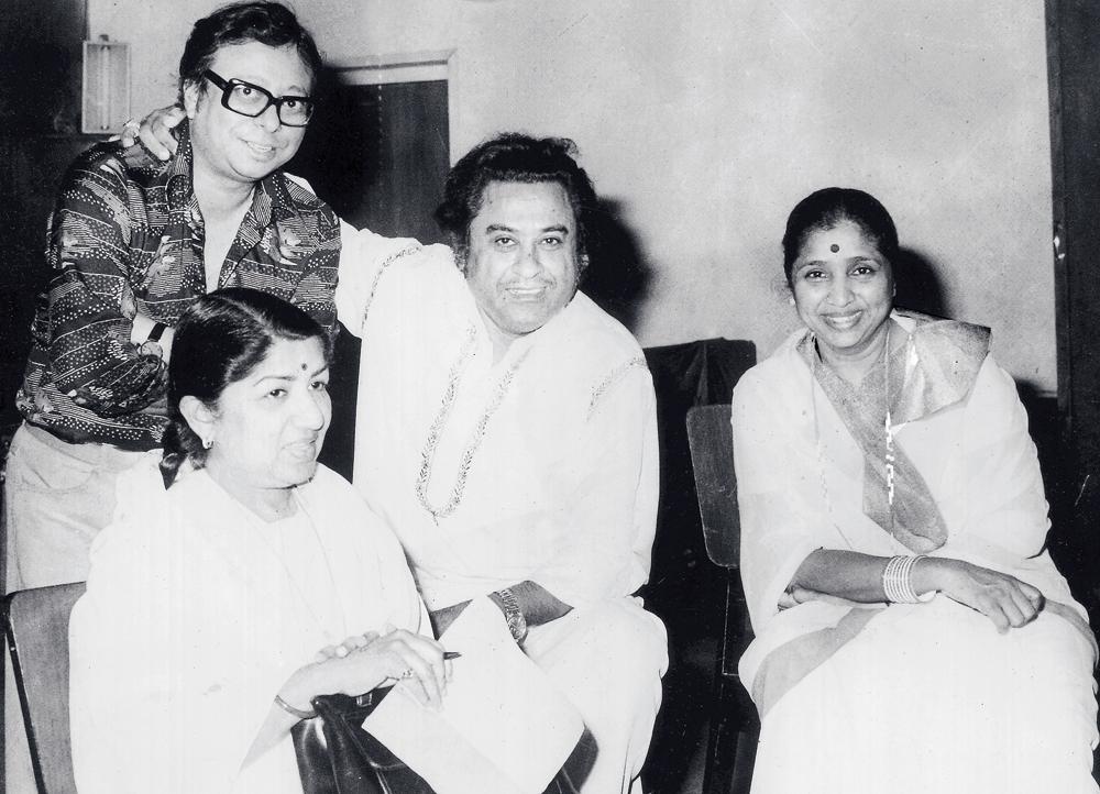 RD Burman, Lata Mangeshkar, Kishore Kumar and Asha Bhonsle at a gathering