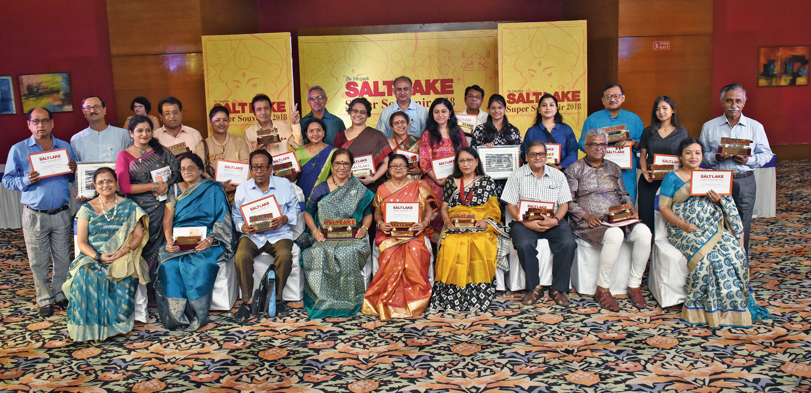 The winners of The Telegraph Salt Lake Super Souvenir and Click Your Township awards at City Centre's Royal Bengal Room.