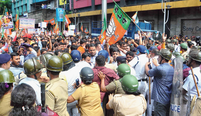 BJP workers at the demonstration in Calcutta on Wednesday