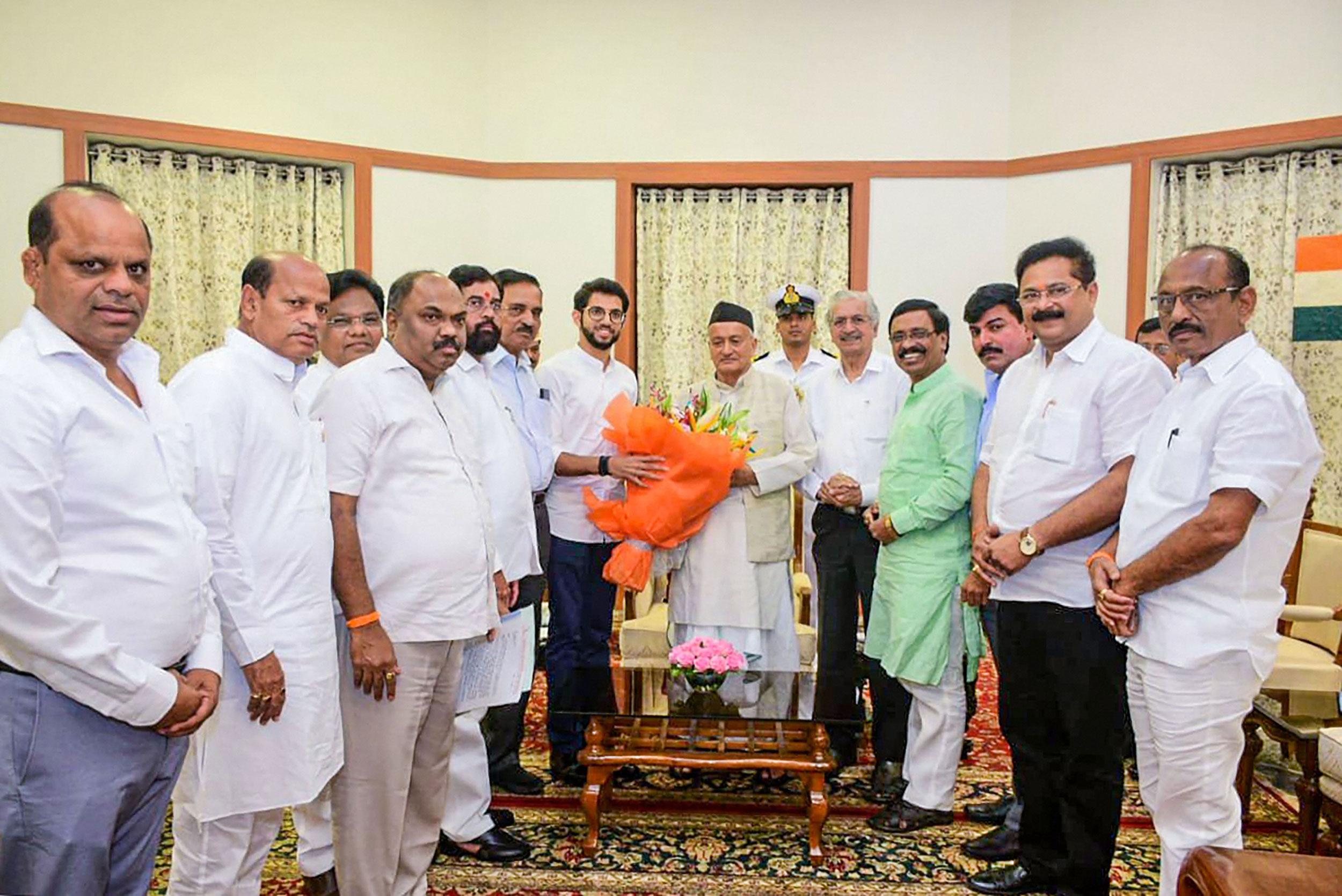 Shiv Sena leaders Aaditya Thackeray, Eknath Shinde and others meet Maharashtra governor Bhagat Singh Koshyari at Raj Bhavan in Mumbai on November 11, 2019. The Shiv Sena has been critical of Koshyari for his refusal to grant the party 48 hours to gather the numbers in its kitty.