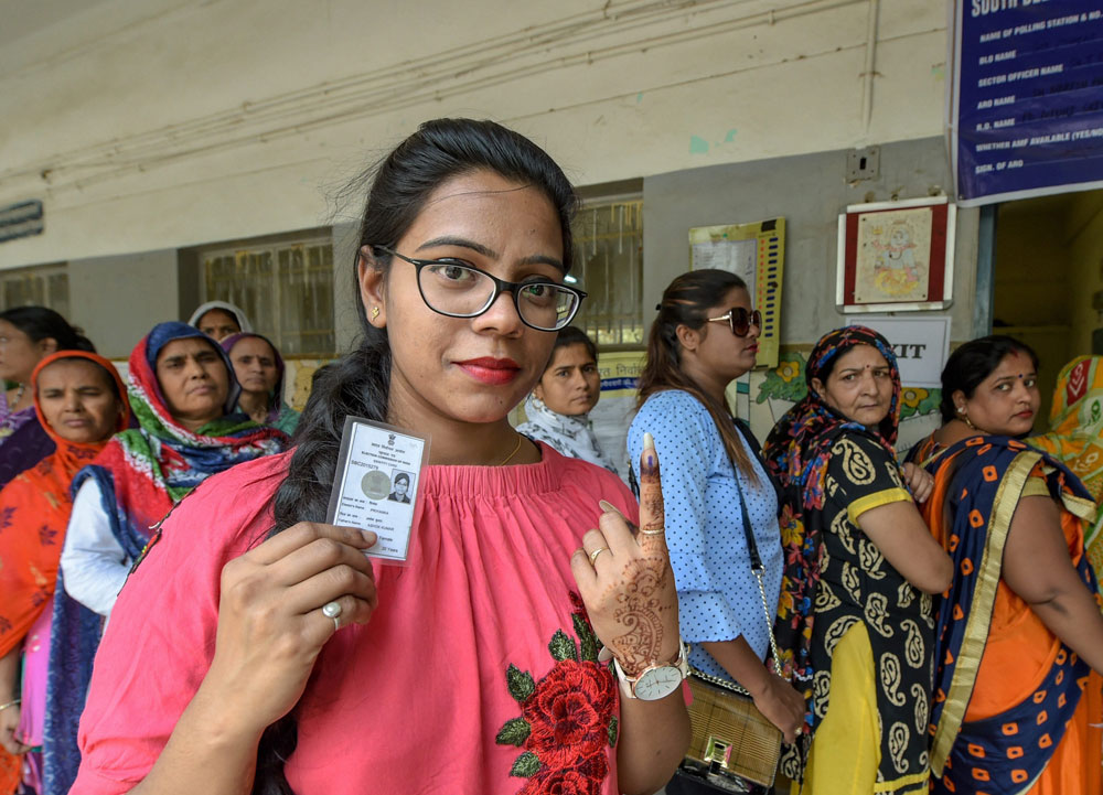 A resident of New Delhi after casting her vote on Sunday, May 12, 2019.