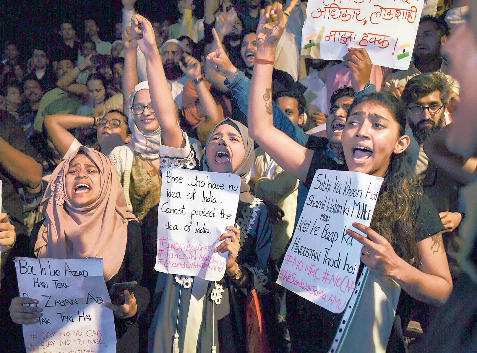 Students shout slogans in Mumbai.