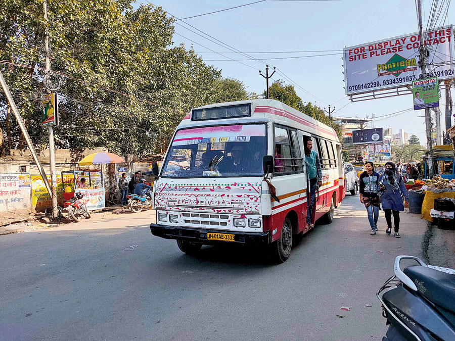 An RMC bus at Lalpur Chowk in Ranchi on Thursday.