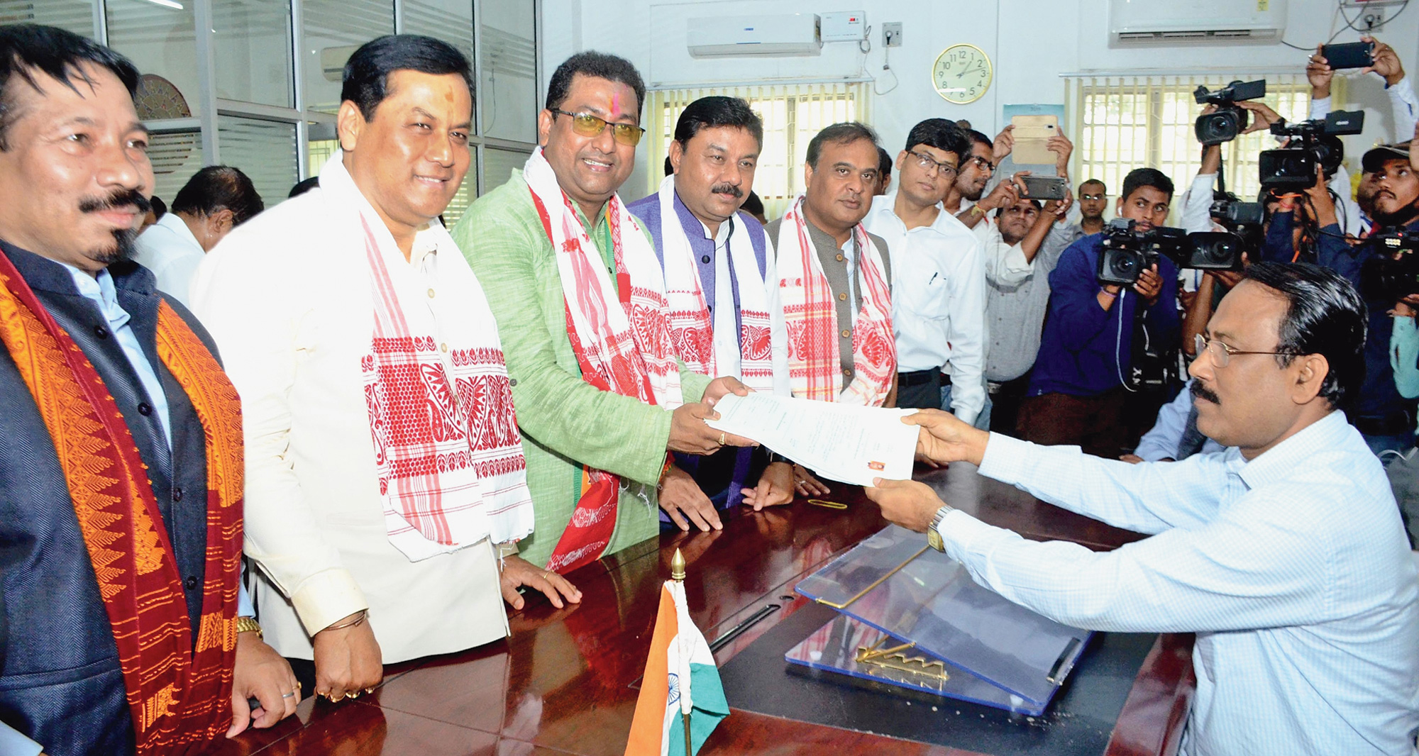 BJP candidate and MLA Rupak Sarmah files his nomination for the Nowgong Lok Sabha seat on Tuesday.