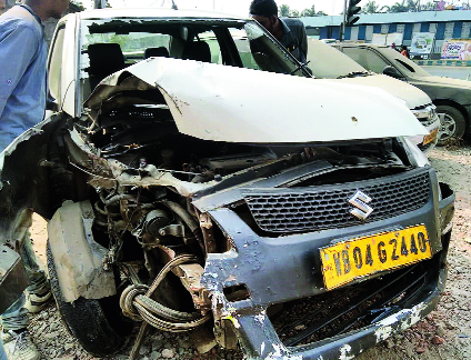 The mangled Swift Dzire that climbed a divider, hit a lamp post and rolled over at the Metropolitan crossing of the EM Bypass on Wednesday Morning