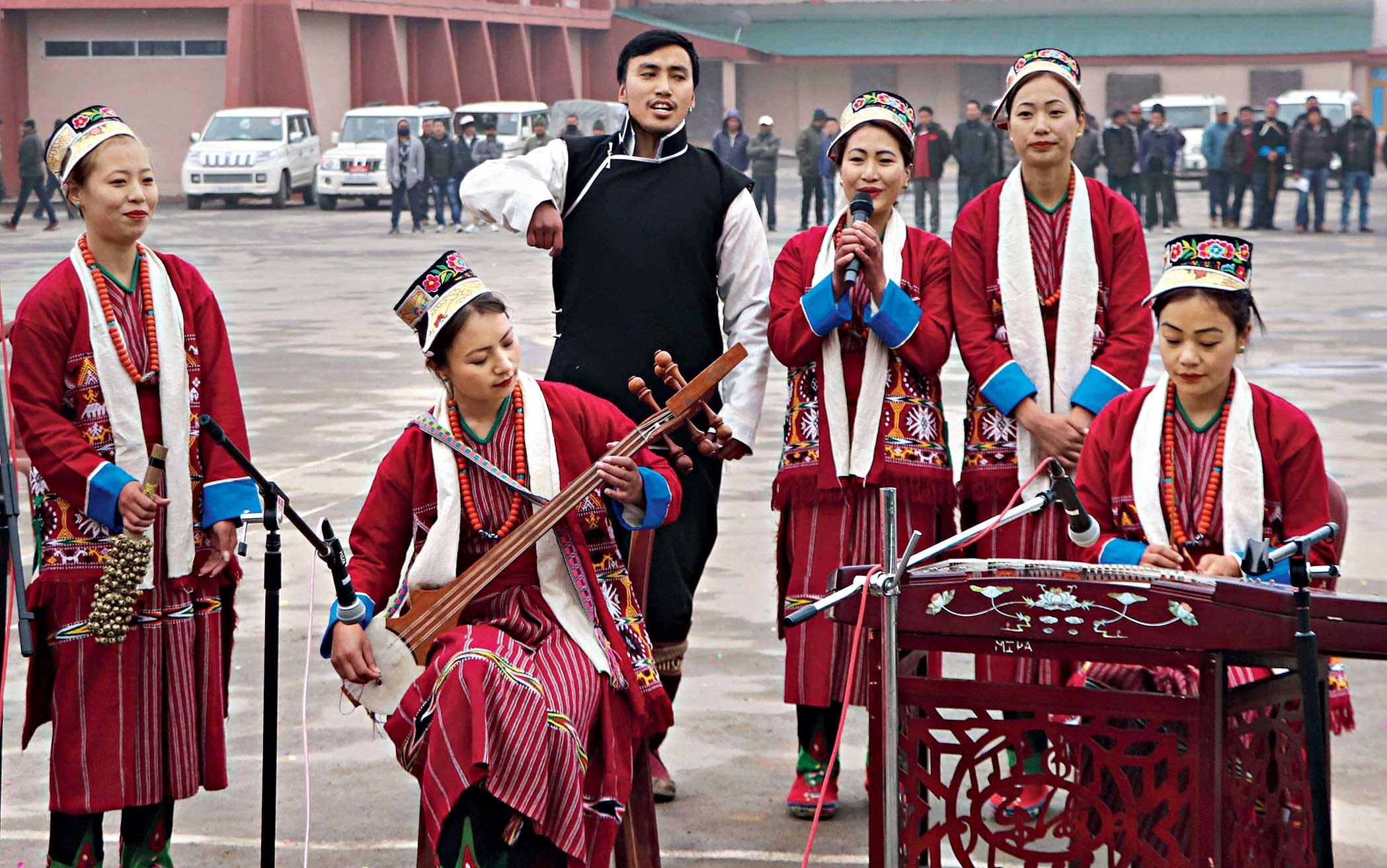 Artistes perform during the 34th Statehood Day of Arunachal Pradesh in Tawang district on Thursday.
