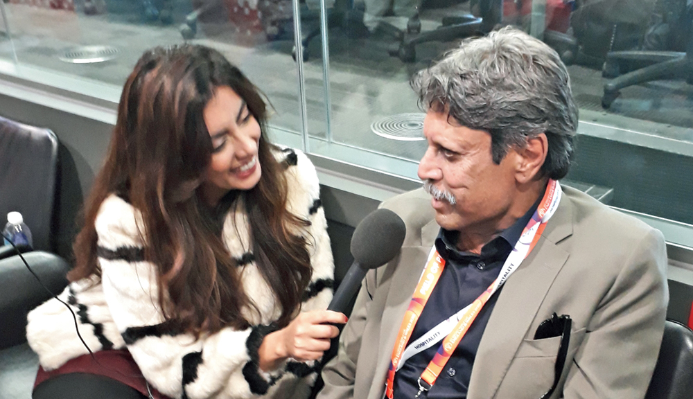 Kapil Dev being interviewed by a radio station at Old Trafford on Tuesday