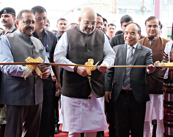 Home minister Amit Shah inaugurates the North East Handloom and Handicraft Exhibition, in Aizawl, on Saturday.