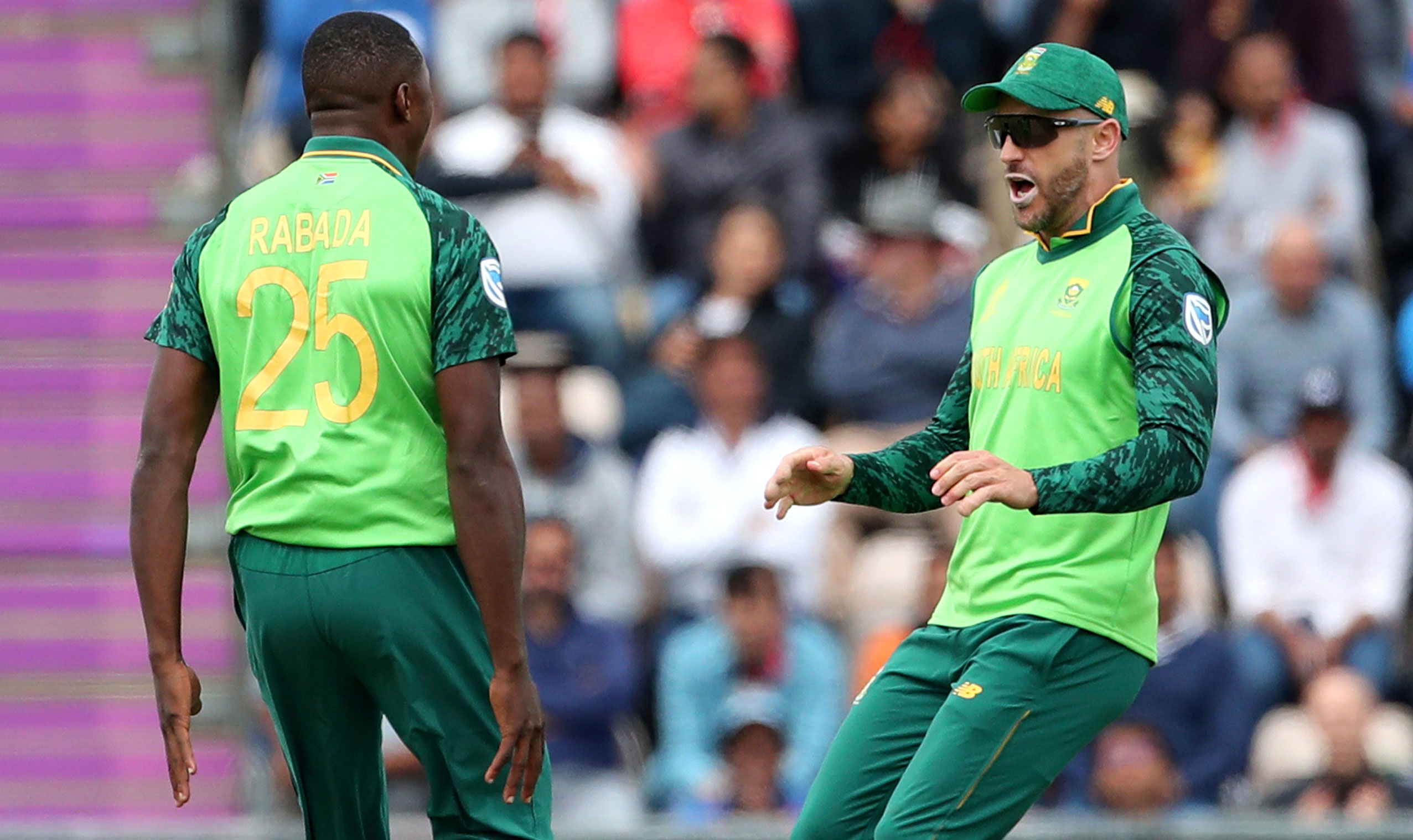 Kagiso Rabada (left) with Faf du Plessis during the ICC Cricket World Cup match between South Africa and India at the Hampshire Bowl in Southampton, England, on June 5, 2019.