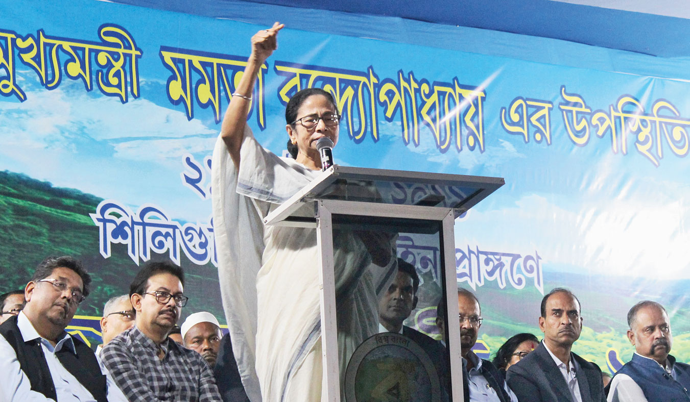 Chief minister Mamata Banerjee at the Bijoya Sammilani in Siliguri on Monday.