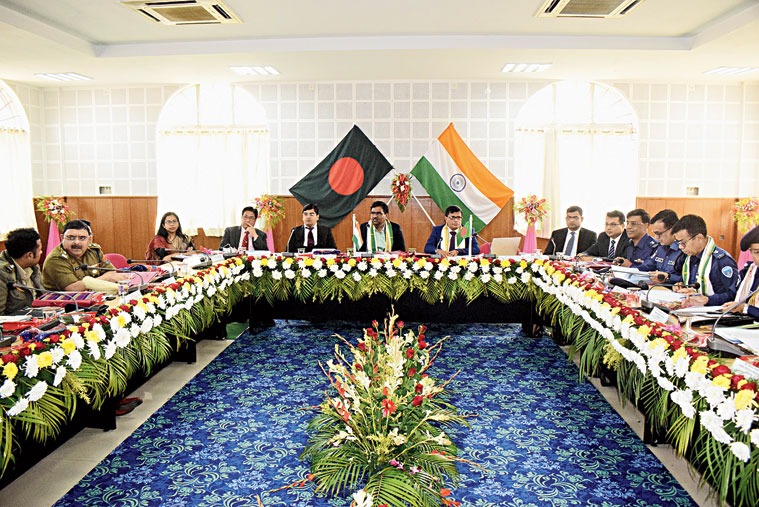 Tripura district magistrates and deputy collectors of Bangladesh at the meeting in Agartala on Wednesday