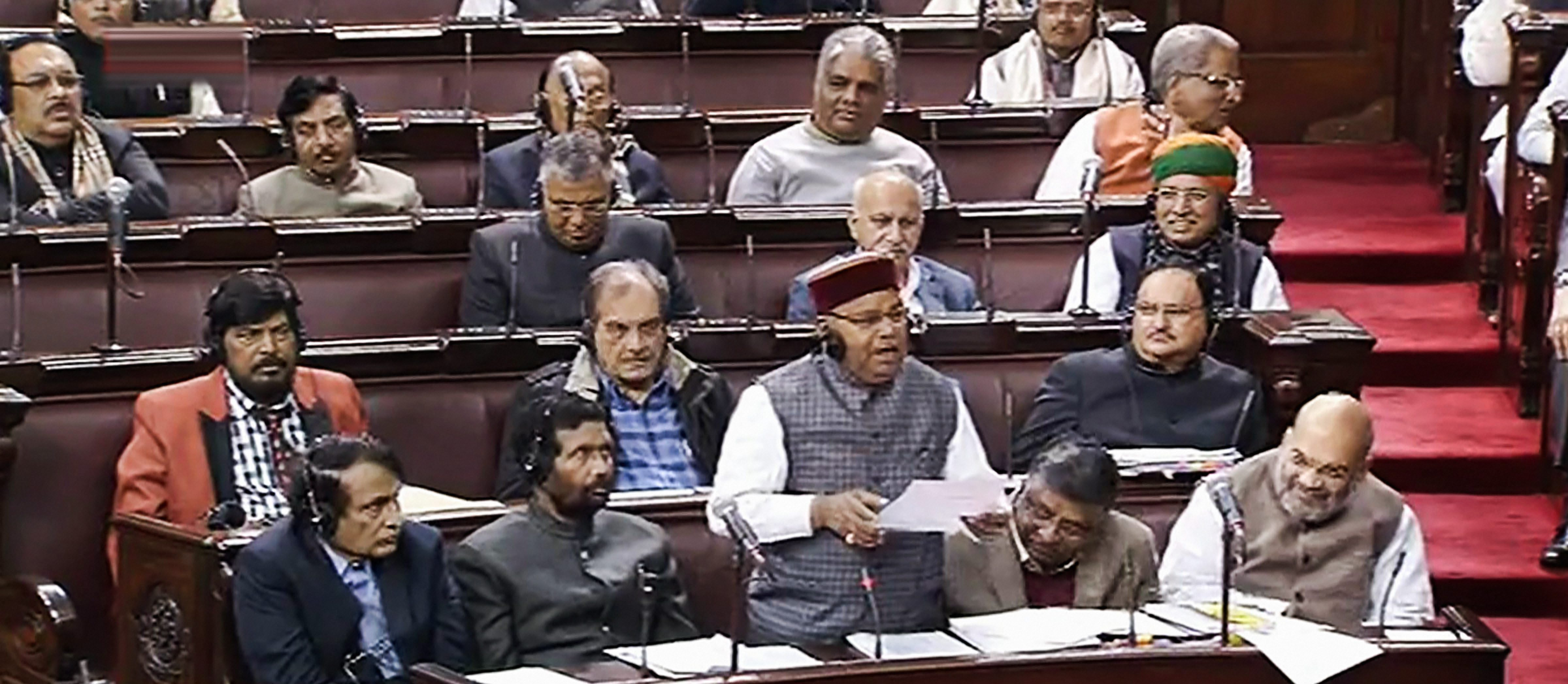 Social justice minister Thawar Chand Gehlot speaks in the Rajya Sabha on Wednesday, January 09, 2019
