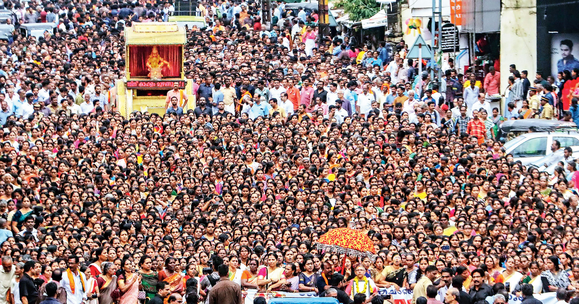 Devotees, mostly women, take part in a march in Kottayam on Saturday against the Supreme Court verdict on the entry of women of all ages into the Sabarimala shrine.