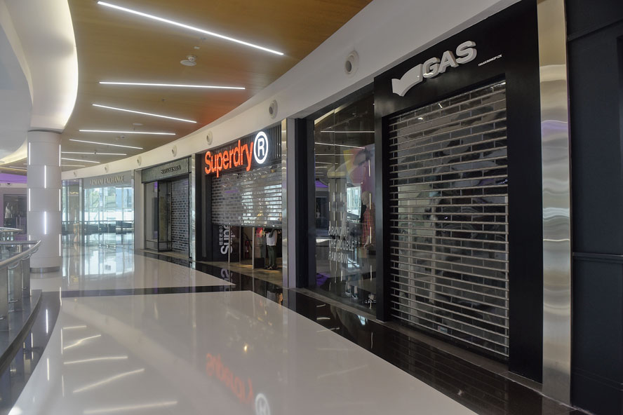Shops at South City mall on Tuesday. There is no suggestion that these specific stores were not open because of any differences with the mall management.