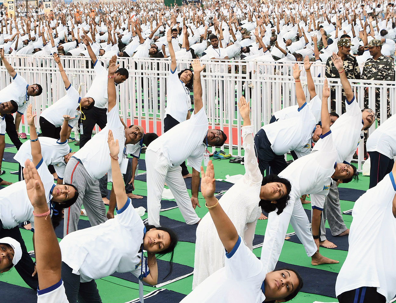 The International Yoga Day event at the Prabhat Tara ground in Ranchi.