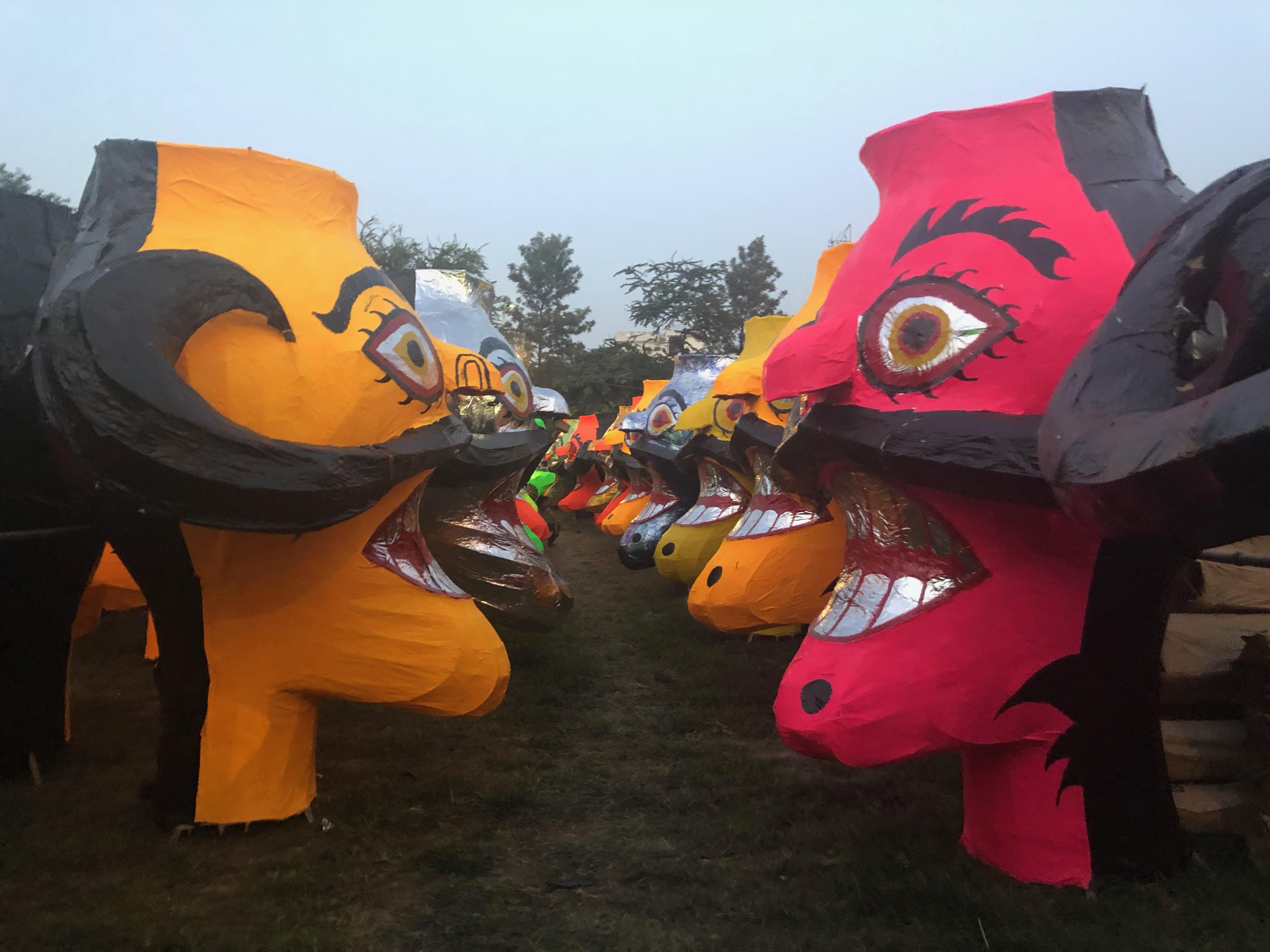 Rows of Raavan heads at Subhash Nagar Park, New Delhi, which was allotted to the craftspeople this year. It has adversely affected their business