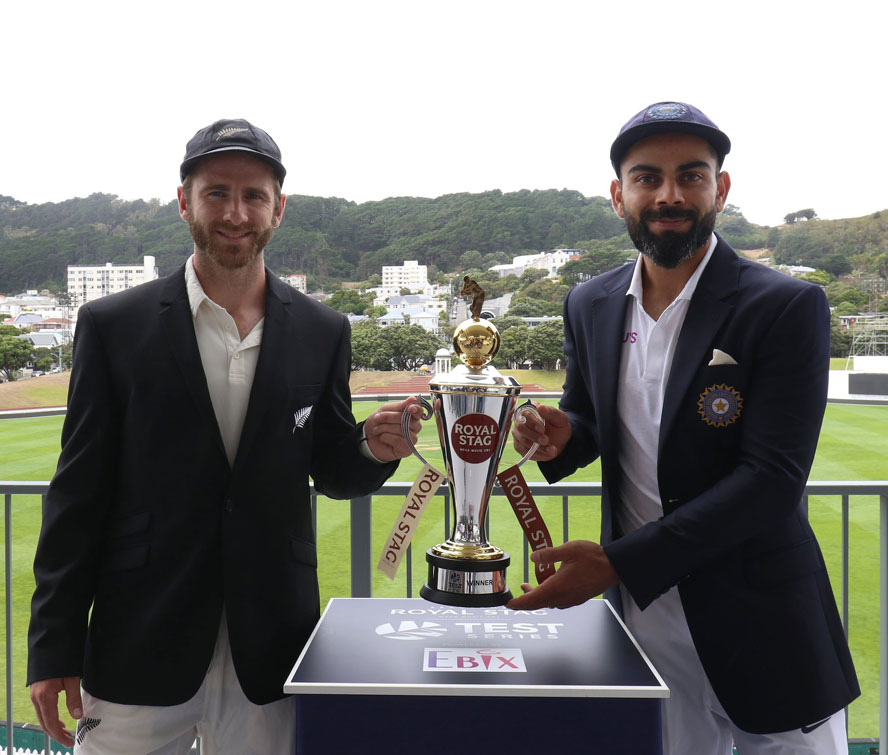 Two Captains Virat Kohli and Kane Williamson pose for the shutterbugs ahead of the two match Test series.