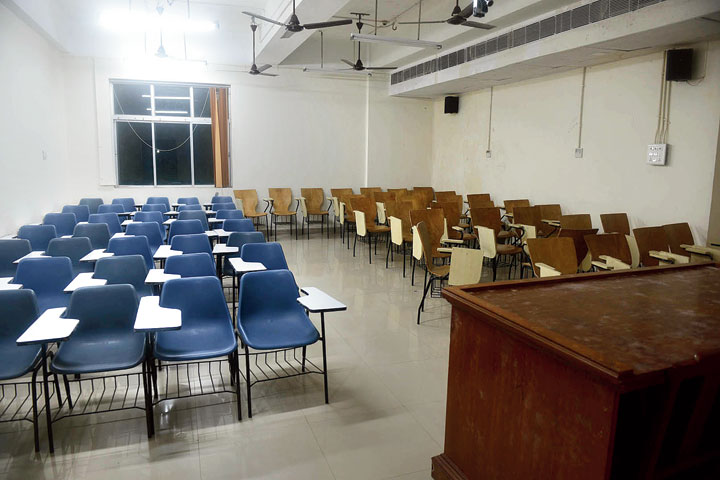 The lecture hall in Presidency University named after Banerjee's father Dipak Banerjee