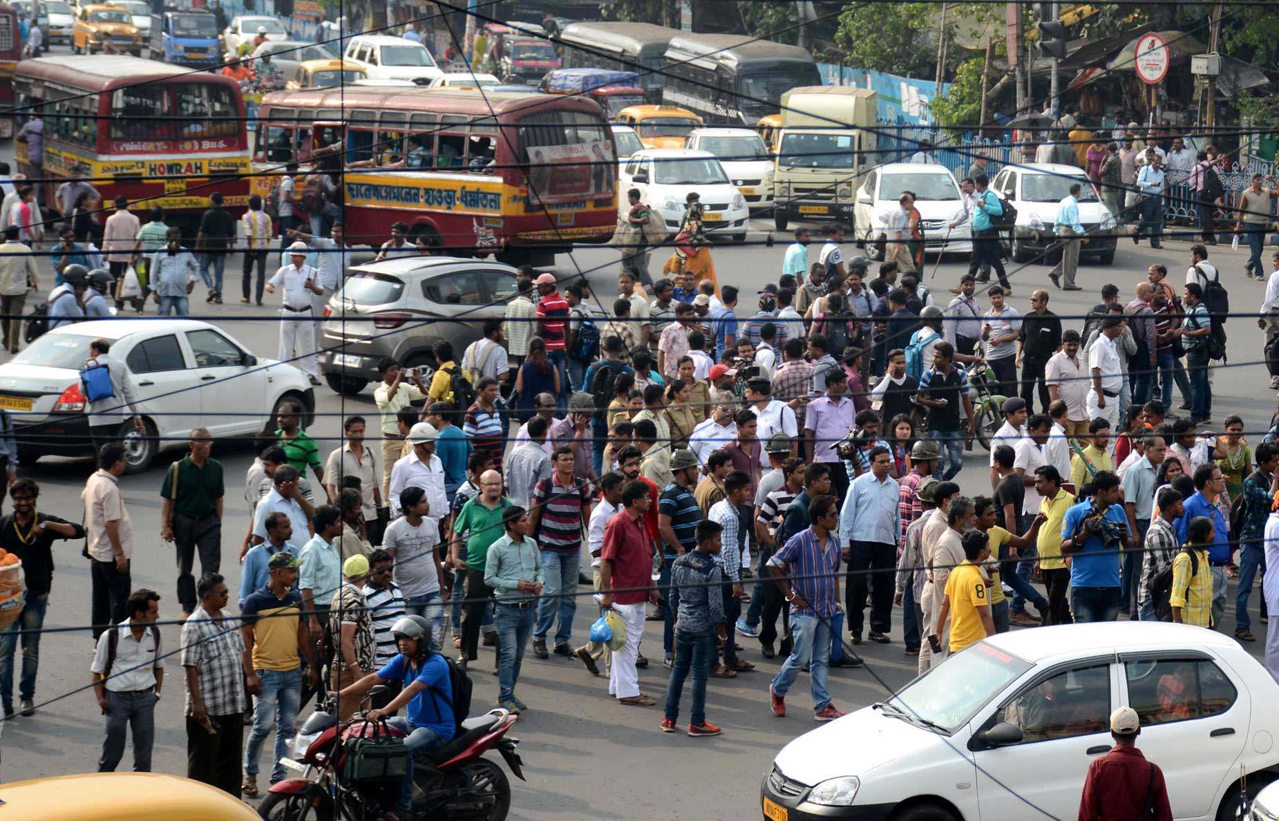 Traffic congestion at the S.N. Banerjee Road crossing, one of Calcutta's busiest intersections