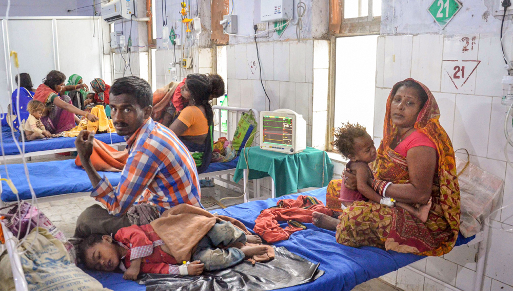 Children suffering from Acute Encephalitis Syndrome (AES) being treated at a hospital in Muzaffarpur, Monday, June 17, 2019.