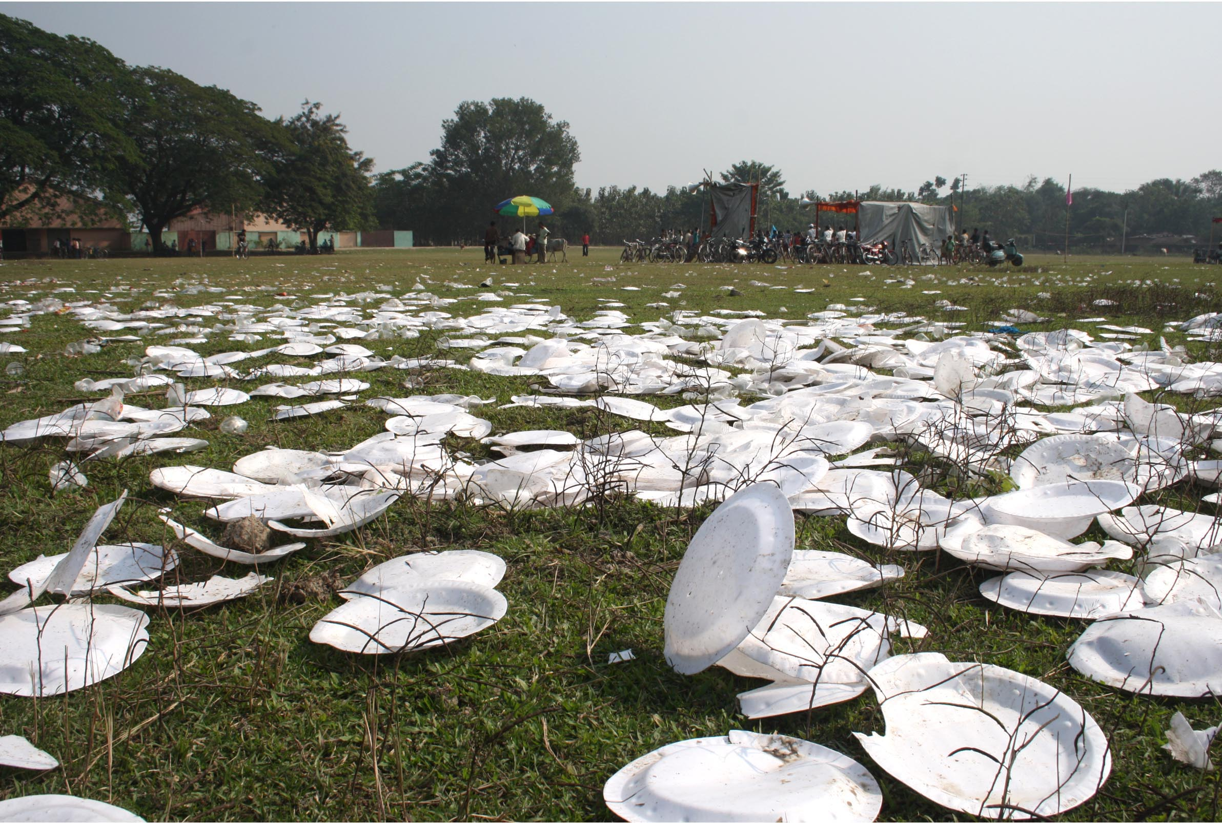 Unfortunately, even today, picnickers use plates and cups made of plastic or styrofoam, which pollute the environment