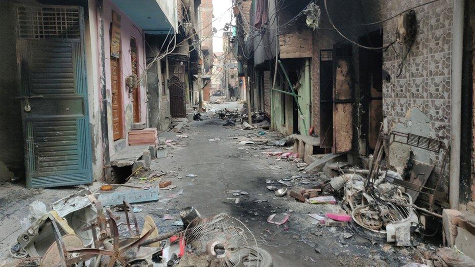 Rows of destroyed houses inside Lane 4 at Khazoori Khas