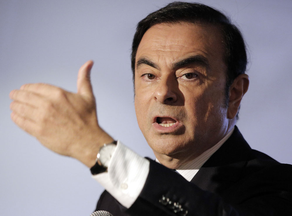 In this Feb. 12, 2016, file photo, Carlos Ghosn addresses reporters during a press conference in Boulogne Billancourt, outside Paris.