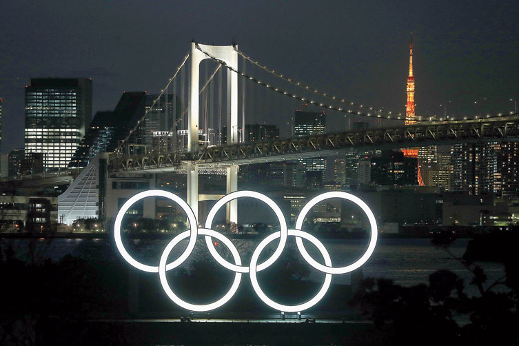The Olympic rings spotted in the foreground of the Odaiba Marine Park in Tokyo.