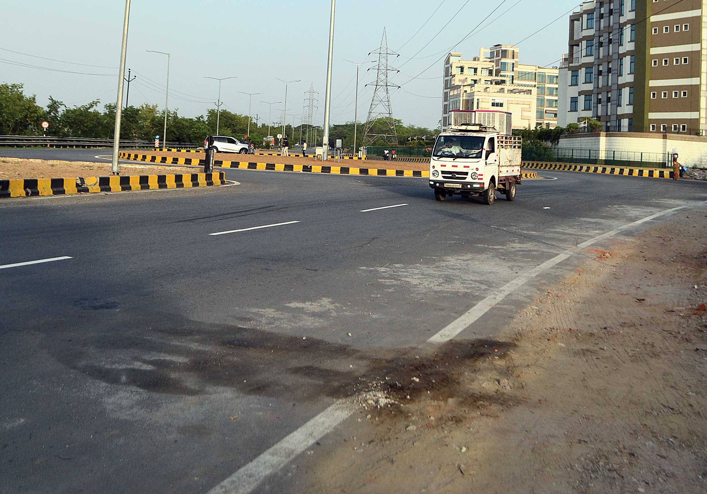 The  mishap spot on Marine Drive along Bistupur in Jamshedpur on Sunday.
