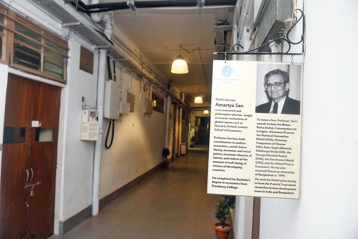 A plaque about Amartya Sen at Presidency University