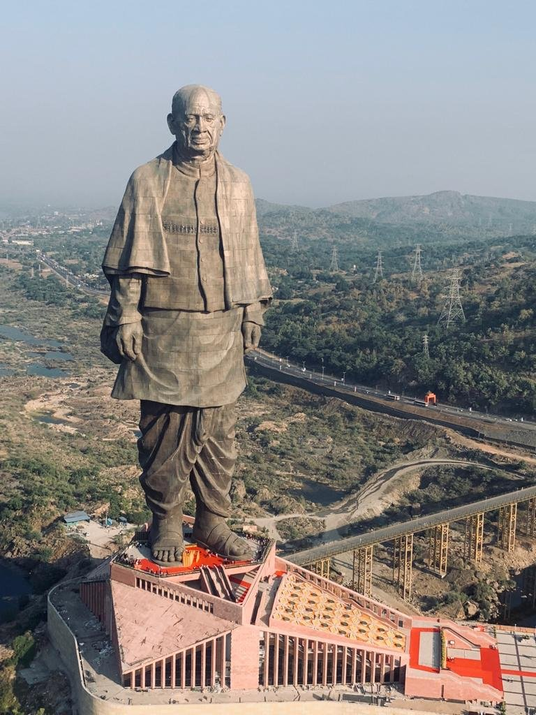 The Statue of Unity stands tall.