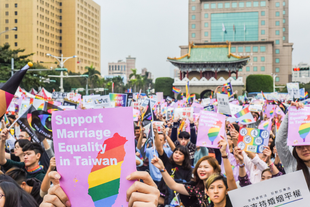 Thousand People Gathering in Front of the Presidential Office Building of Taiwan to Support Same-Sex Marriage and the LGBT Rights.