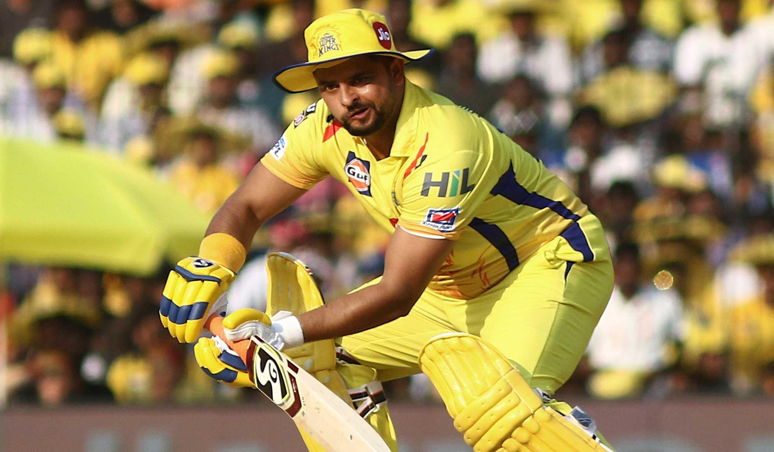 Suresh Raina plays a shot during the IPL T20 cricket match between Chennai Super Kings and Kings XI Punjab in Chennai, on April 6, 2019.