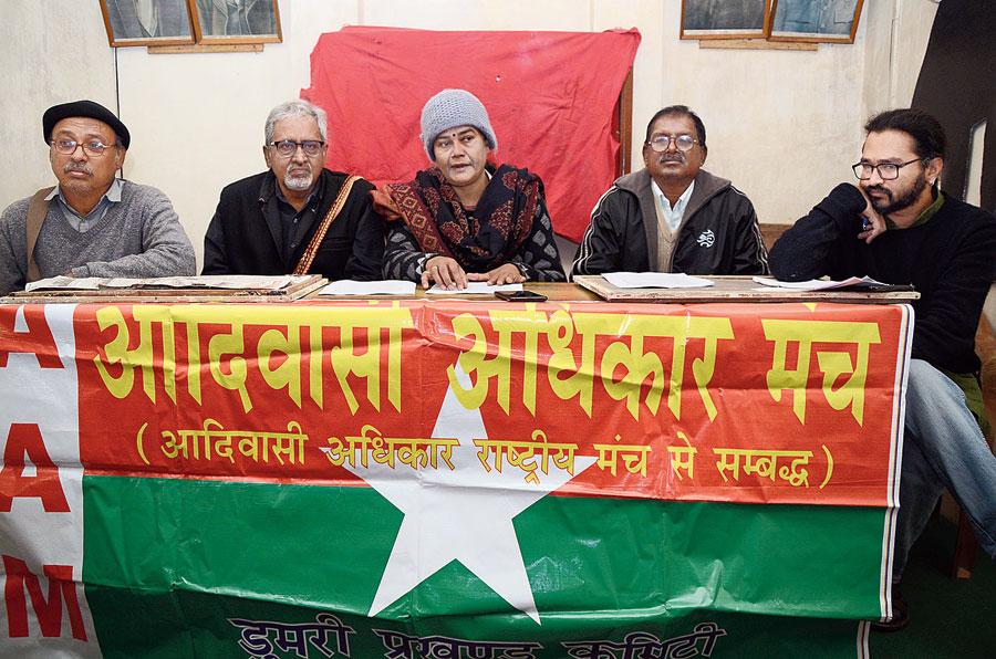 Members of Adivasi Adhikar Manch address the media in Ranchi on Monday.