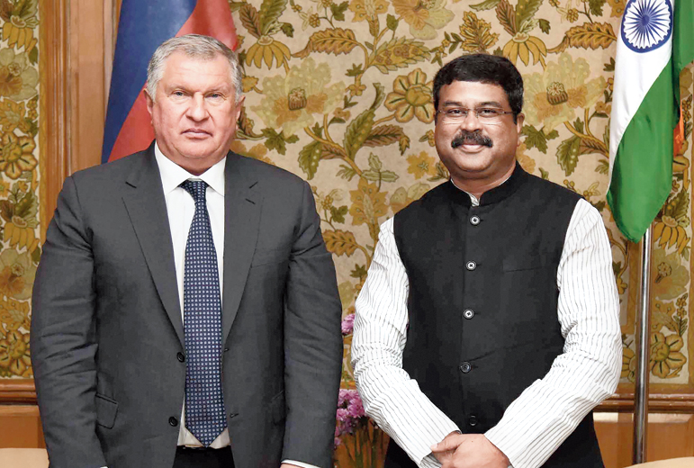 Dharmendra Pradhan with Igor Sechin in New Delhi on Tuesday.
