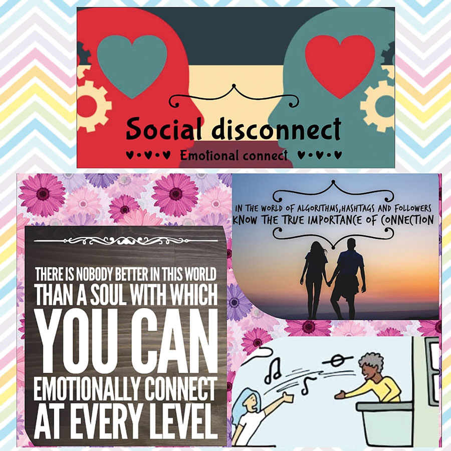 A poster by students of Little Flower School on Social distancing