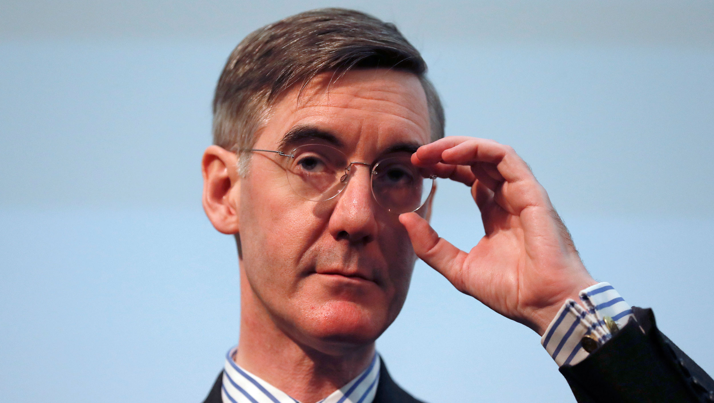In this January 23, 2019, file photo, Jacob Rees-Mogg speaks at a meeting for eurosceptic think tank The Bruges group, in London.