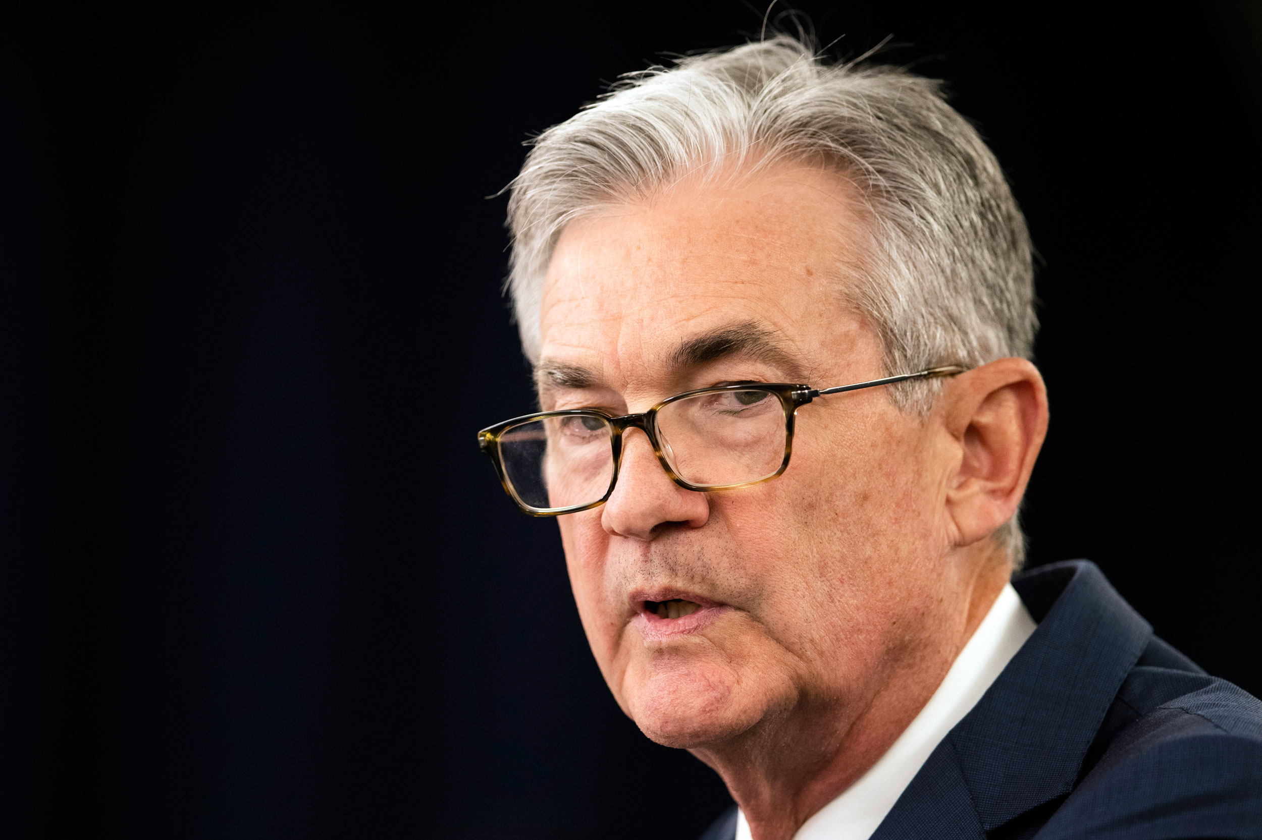 Federal Reserve Chairman Jerome Powell speaks during a news conference following a two-day Federal Open Market Committee meeting in Washington on July 31, 2019.