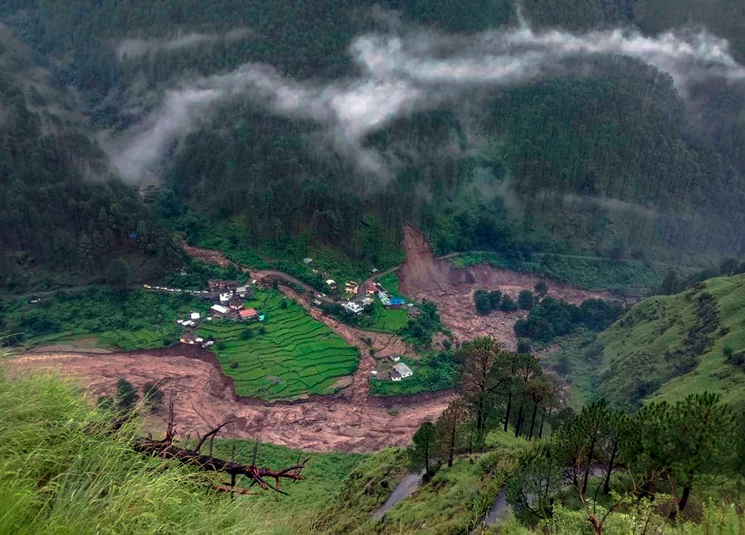 A view of the destruction caused by landslide following a cloud burst in Uttarakashi district of Uttarakhand on August 18, 2019.
