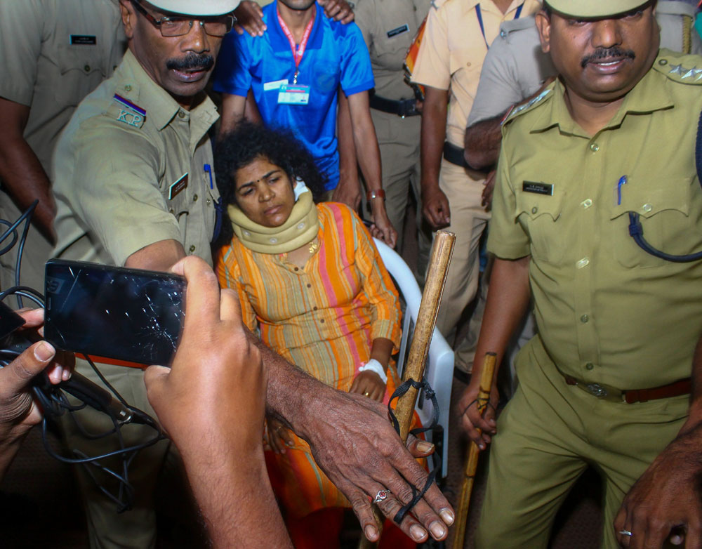 Kanaka Durga, one of the two women who recently made history after entering the Sabarimala temple in their menstrual age, being shifted to a hospital for treatment after she was allegedly beaten up by her mother-in-law, in Kozhikode on Tuesday, January 15, 2019.