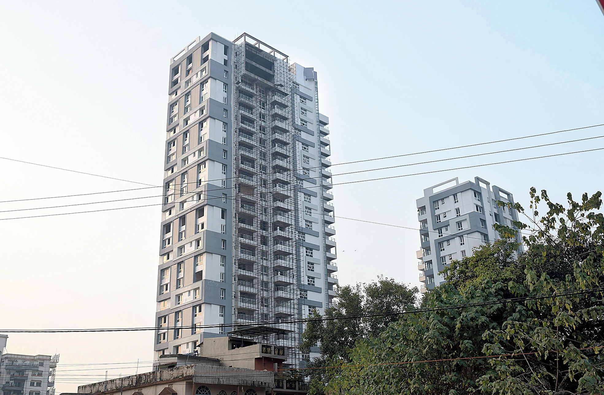 One of the high-rises in Lalpur, Ranchi, where RMC stopped construction work on Wednesday.