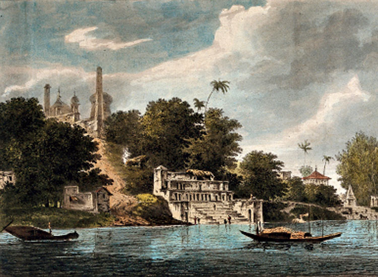 Ayodhya seen from the river Ghaghara, Uttar Pradesh (Coloured etching by William Hodges, 1785)
