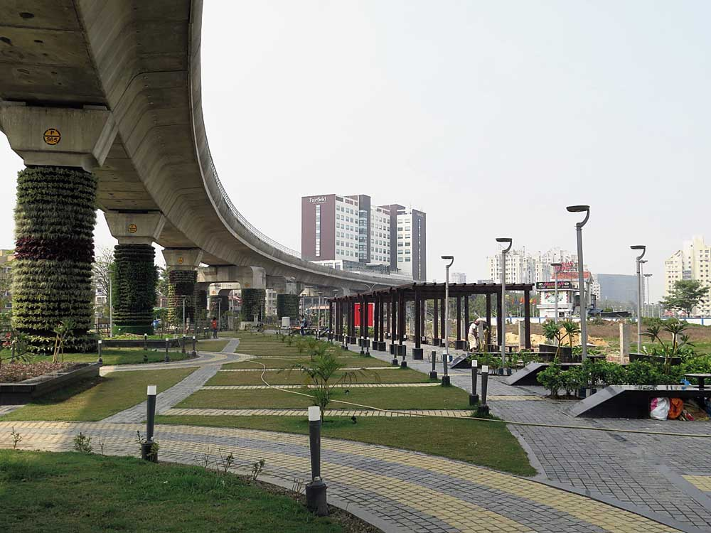 A view of the vertical gardens on pillars beside the upcoming smart cafe near Biswa Bangla Gate