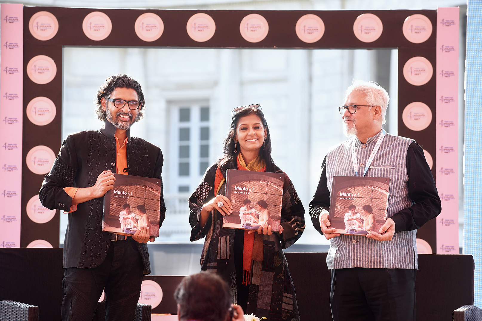 (L-R) Niranjan Iyengar, Nandita Das and Amitav Ghosh with copies of 'Manto & I' on stage at the Tata Steel Kolkata Literary Meet, in association with The Telegraph and Victoria Memorial Hall on January 24.