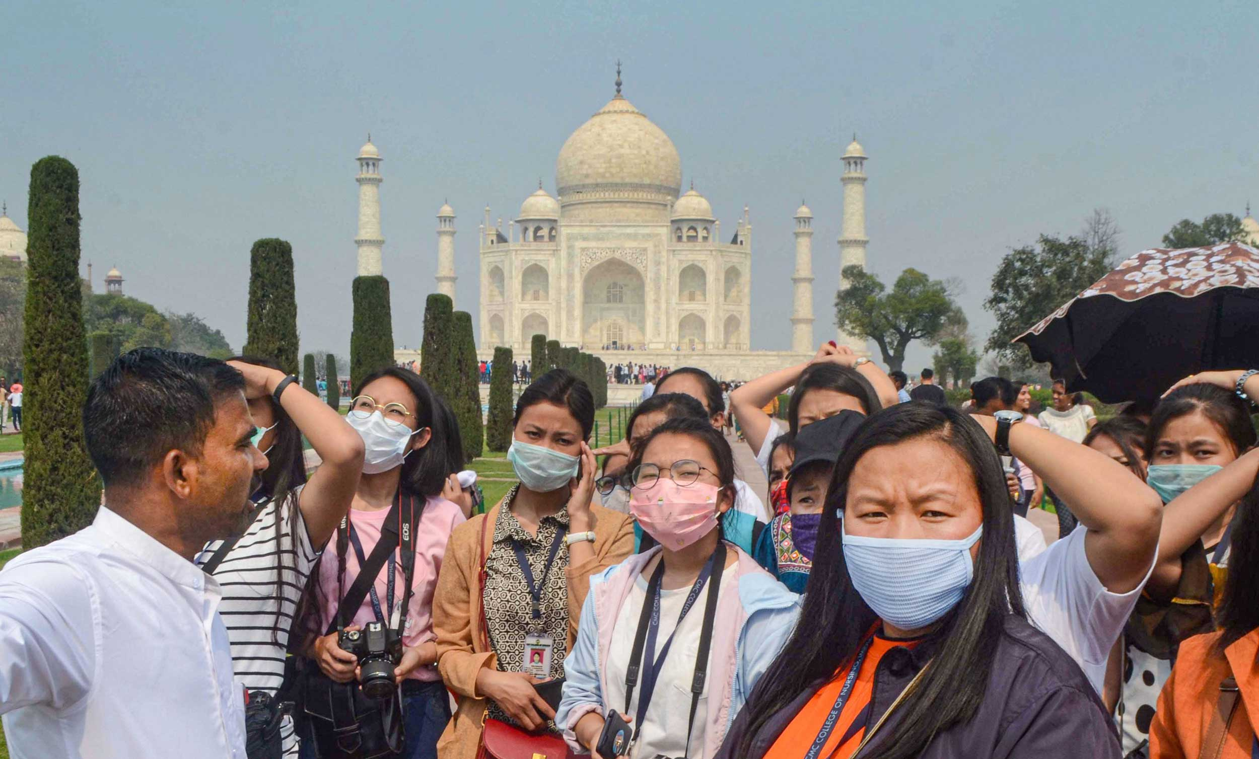 Tourists at the Taj Mahal in Agra on Tuesday,