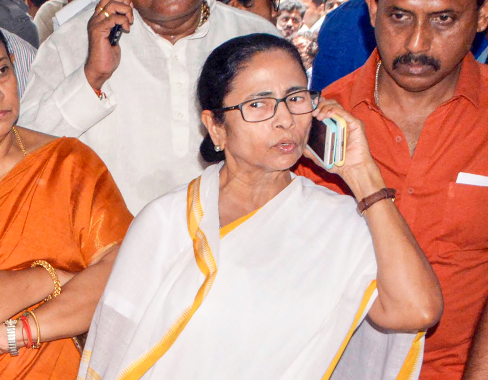 West Bengal Chief Minister Mamata Banerjee at state government-run SSKM Hospital on Thursday, June 13, 2019.