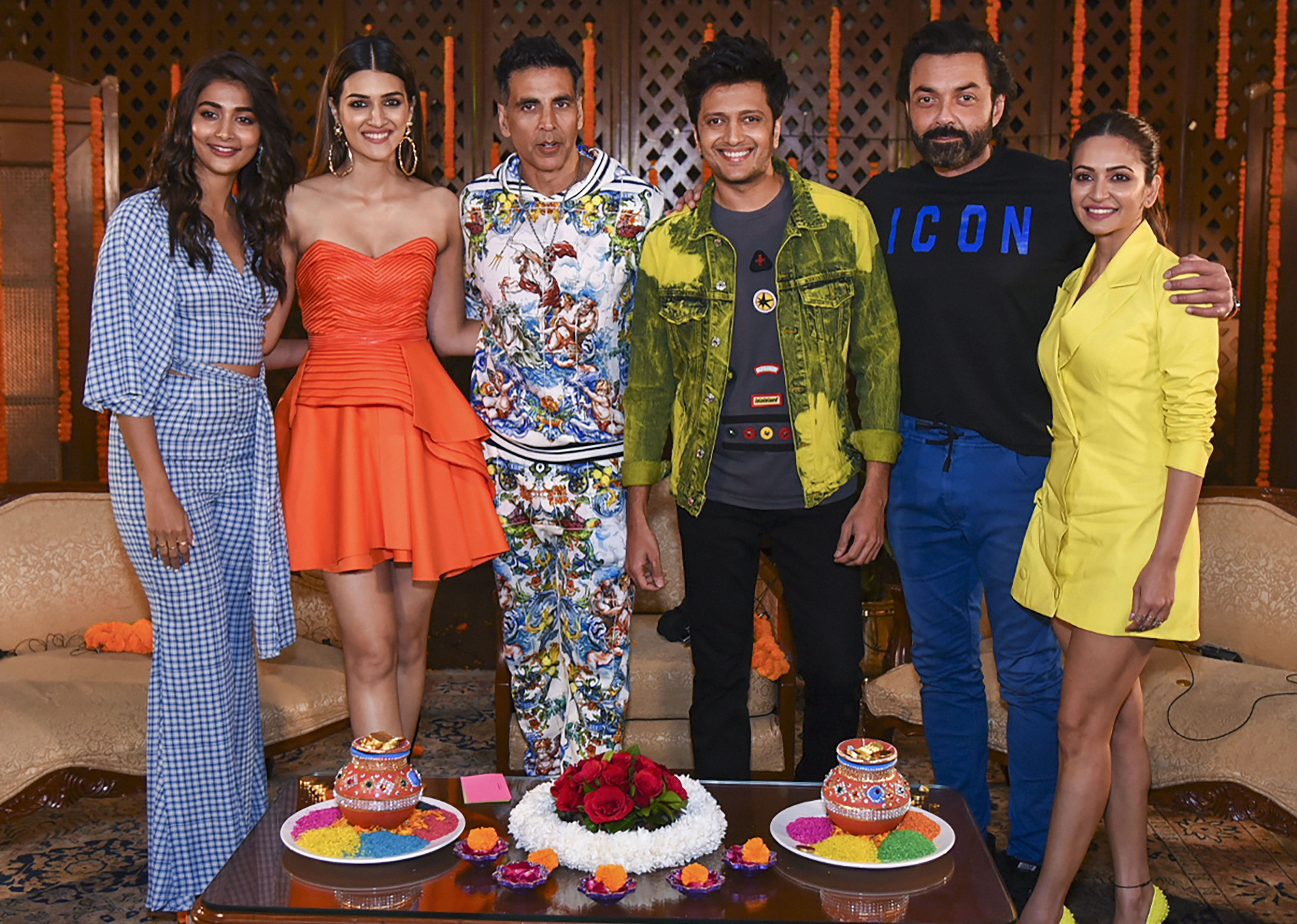 Bollywood actors Riteish Deshmukh, Kriti Sanon, Pooja Hegde, Bobby Deol, Akshay Kumar and Kriti Kharbanda pose during the promotion of their film 'Housefull 4', in New Delhi, Friday, October 18, 2019
