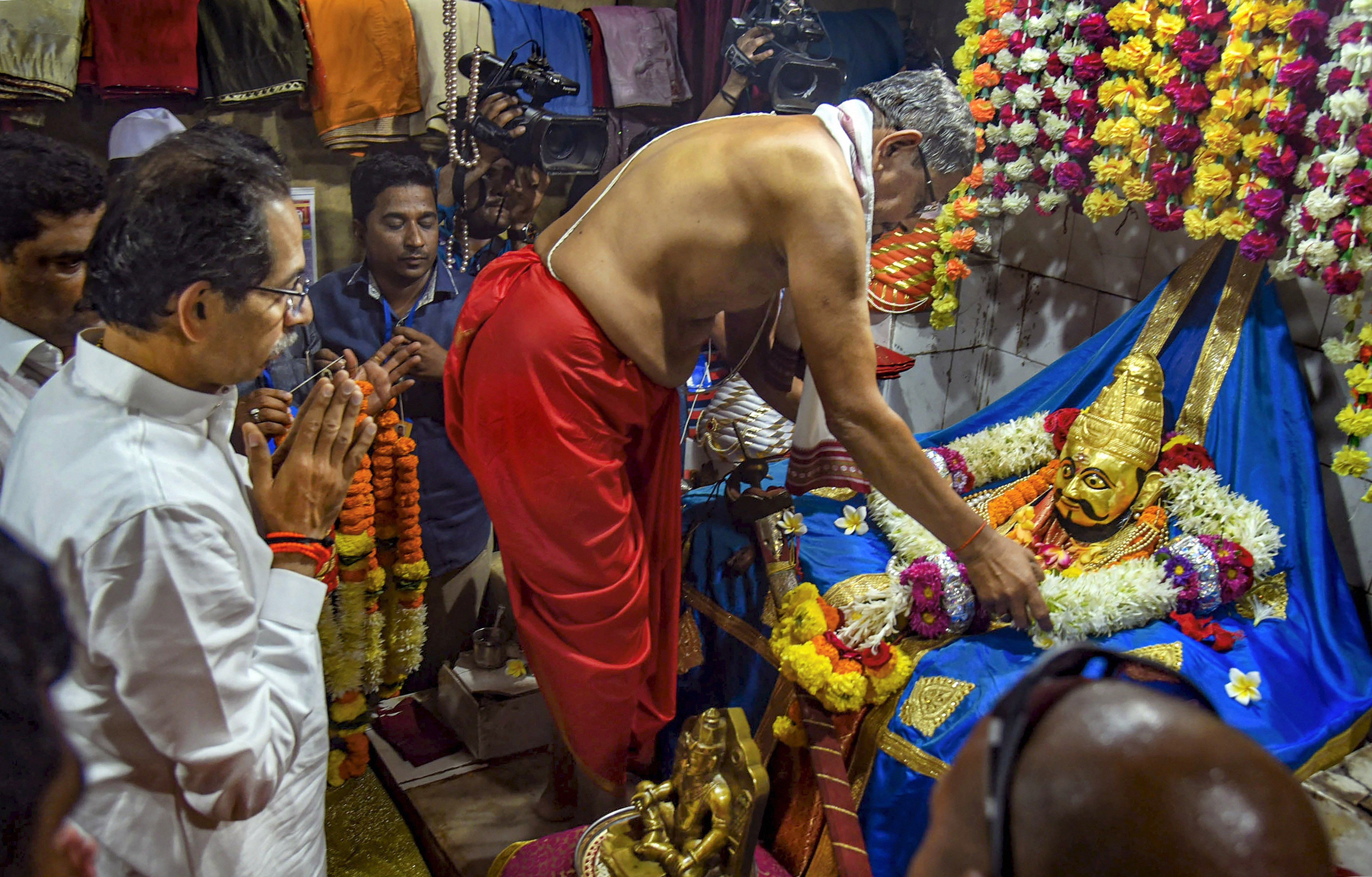 Maharashtra chief minister Uddhav Thackeray pays obeisance to Shivaji at a temple inside Sindhudurg fort at Malvan of Sindhudurg district, Tuesday, February 18, 2020