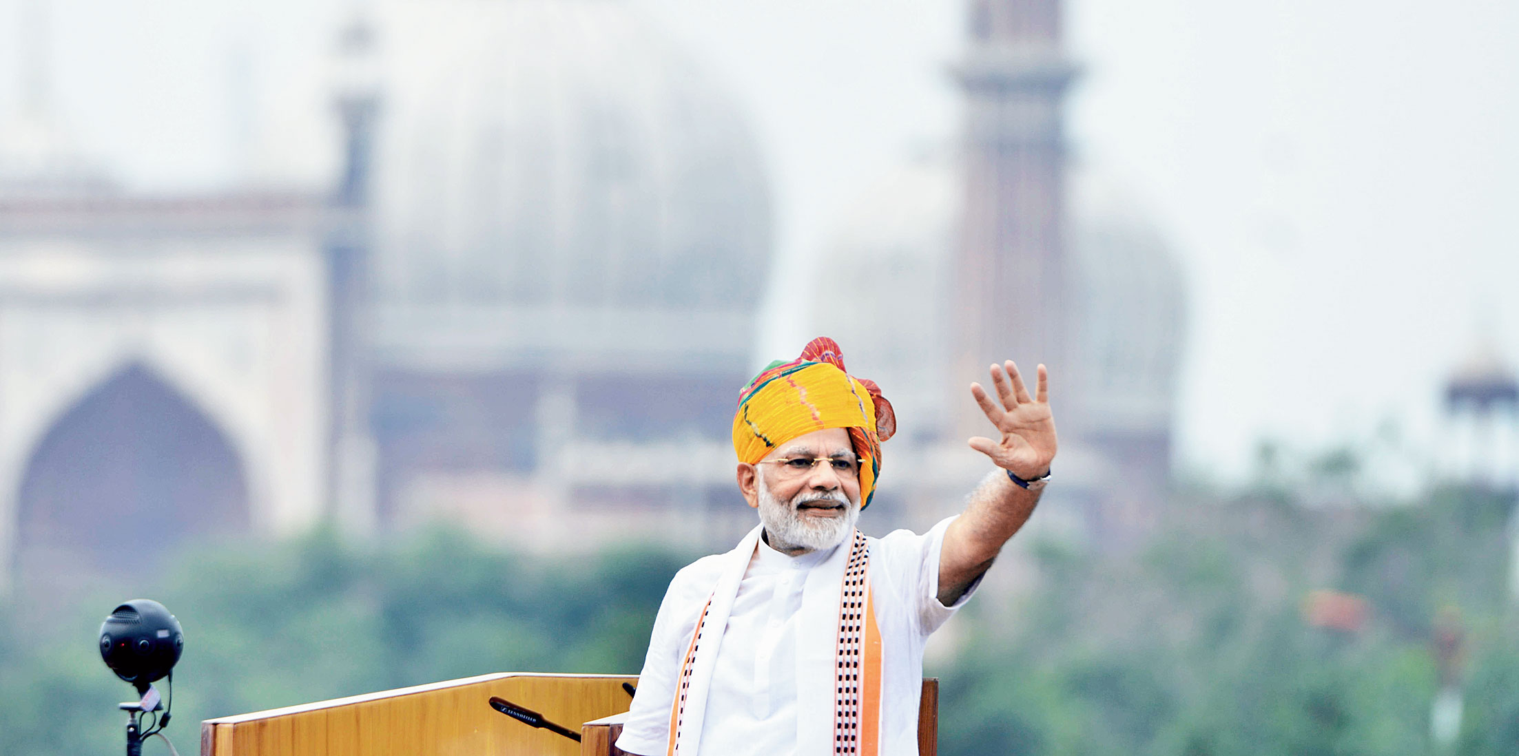 Prime Minister Narendra Modi addresses the nation from the Red Fort on Independence Day.